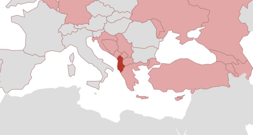 Karte Albanien.Albanien