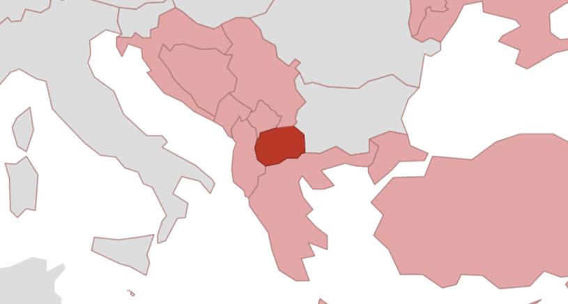 Grüne Karte Mazedonien.Nordmazedonien