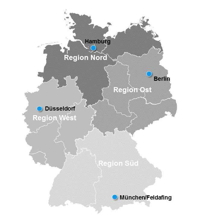deutschlandkarte ost west Regionalbüros Deutschland