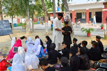 Science class at goverment primary school in Noshera District of KPK