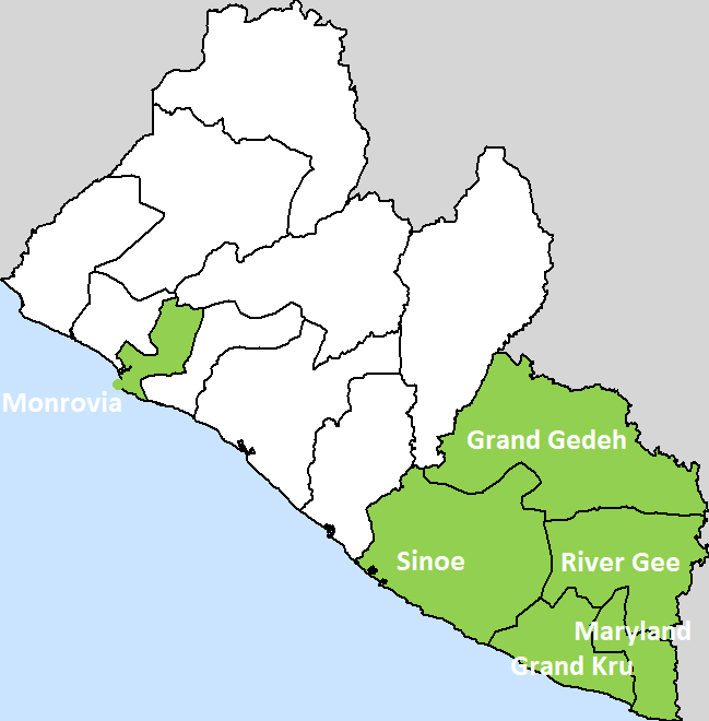 Focus areas of the project in south-east Liberia and Montserrado County (Monrovia).