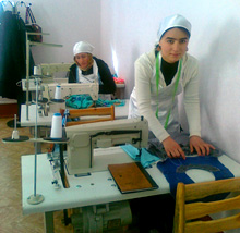 Tajikistan. After learning to sew in a training centre, these young women set up their own business. © GIZ