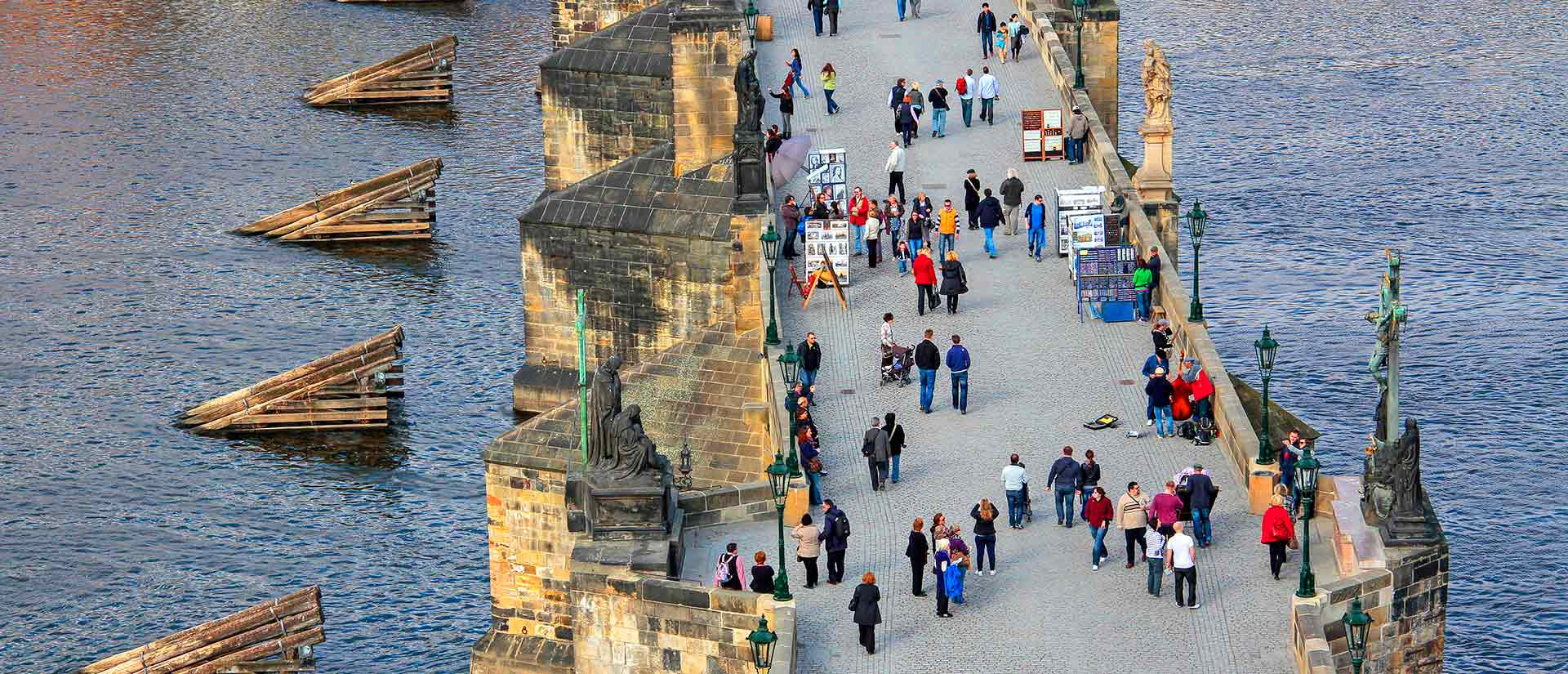 Vltava River and Charles Bridge, Prague, Central Bohemia, Czech Republic