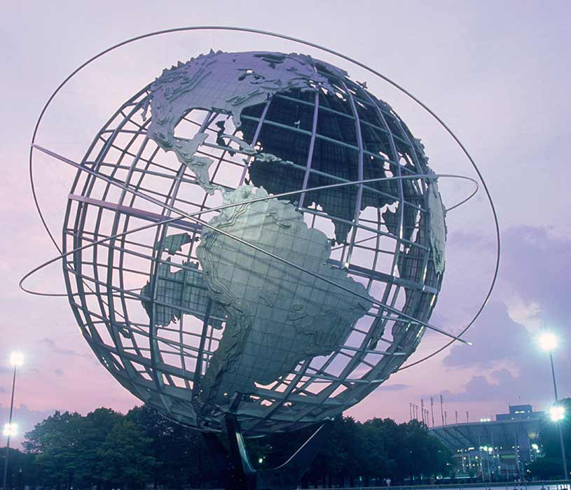 Globe as a monument against the evening sky