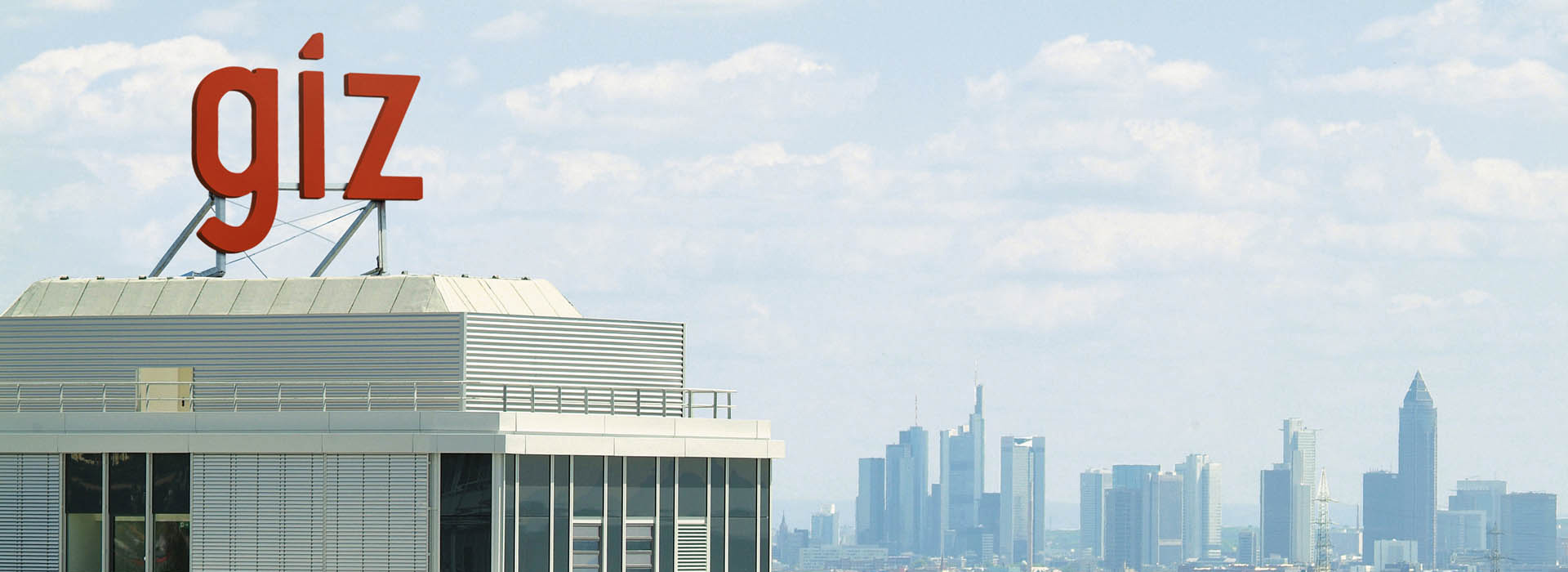 Frankfurt skyline as seen from Eschborn with GIZ building in foreground