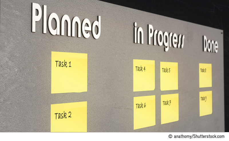 Grey bulletin board with yellow stickers for the purpose of planning